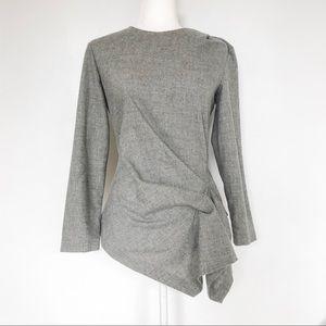 Zara Woman Wool Blend Asymmetrical Top Gray Size M